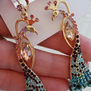Betsey Johnson Jewelry - Betsey Johnson peacock long beaded earrings NWT